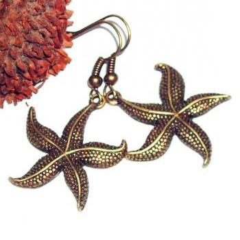 Bronze starfish charm earrings