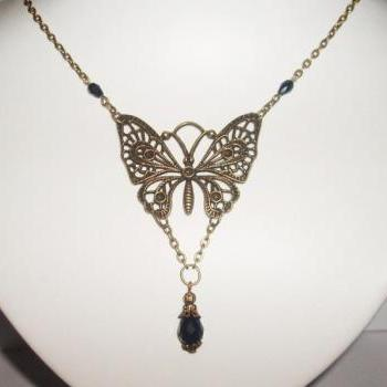 Lovely black crystal drop  filigree butterfly pendant bride bridesmaid vintage  look necklace